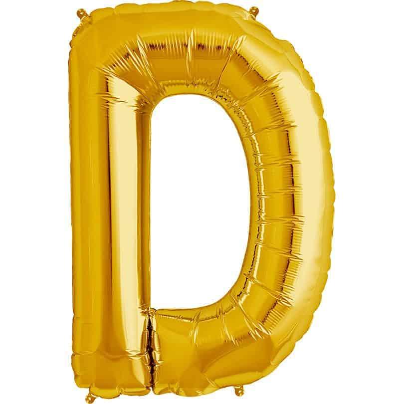 "34"" Gold Letter D Balloon - Balloon Man"