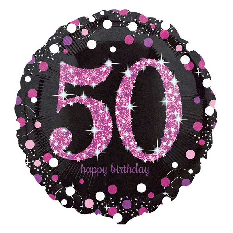18 Black Pink 50th Birthday Foil