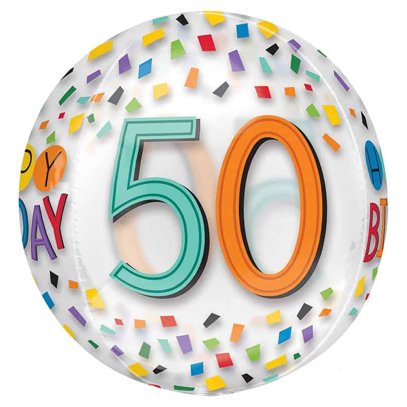 16 Orbz Clear 50th Birthday Foil Balloon