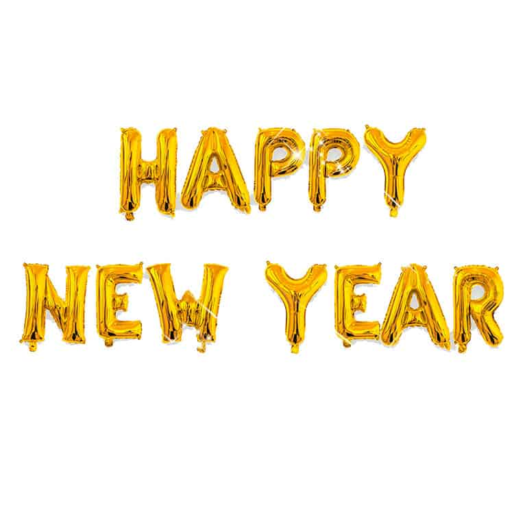 """36"""" Happy New Year Gold Letters - Balloon Man"""